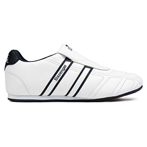 Slazenger Kids Junior Warrior Trainers Slip On Leather Sports Shoes Footwear White/Navy UK 5 (38) - Junior Leather Hockey Skates