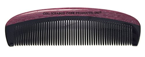 """Col Ichabod Conk Handcrafted Violet Wood/Horn Beard Comb Measures 5 1/2"""" x 1 5/8"""" and tooth length is 1 inch at the longest point."""