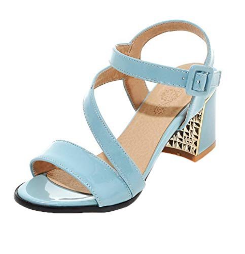Talon TSFLH006053 Ouverture Boucle PU Correct Bleu AalarDom d'orteil Cuir Sandales Femme à 6EwAqAC