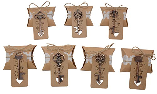 Wedding Favors for Guests 70 Pack Mixed Large Skeleton Key Bottle Openers Copper with Tag and Pillow Candy Box and Twine Vintage Bridal Shower Favors Bottle Openers 70 pack copper