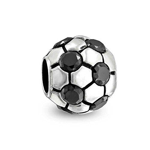 Diy Womens Football Costume (truecharms Black CZ Soccer Ball Football Sports Charm Beads Fits European Jewelry Charms Bracelets)