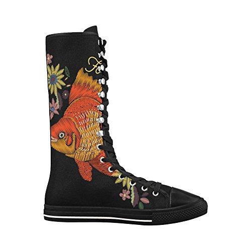 D-story Fashion Stringate Scarpe Da Ginnastica Alte In Tela Punk Danza Lunga Per Donna Multicolore14