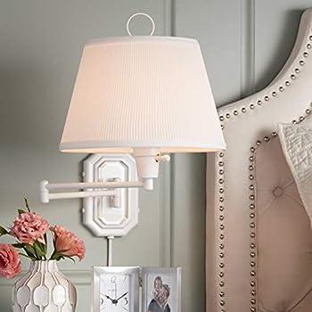 Vero White Plug In Swing Arm Wall Lamp 360 Lighting Wall Sconces Amazon Com