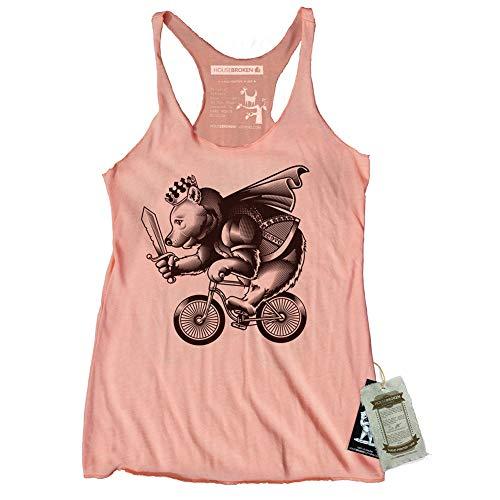 Funny Womens Bike Shirt of Bear Riding a Bike Size Small