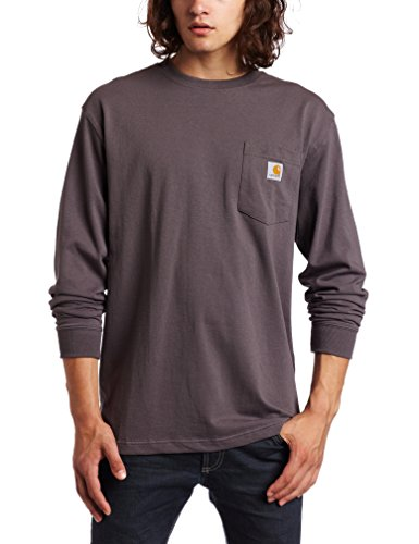 Carhartt Men's Workwear Jersey Pocket Long-Sleeve Shirt K126 (Regular and Big & Tall Sizes), Charcoal, Medium
