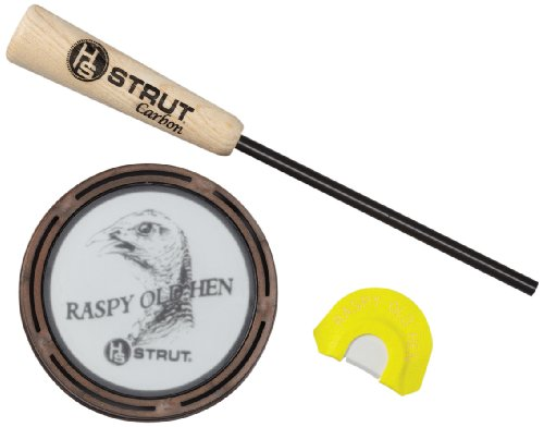 Glass Turkey Call - Hunter's Specialties Inc. Strut Raspy Old Hen Glass Pan Call with Premium Flex Diaphragm Call Combo Pack