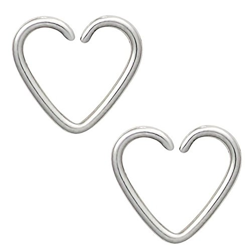 (BODYA assoted 4 colors 18 gauge tiny niobium Heart Captive Ring daith Ear Cartilage Earring Rook tragus Helix piercing Jewelry (iron color))