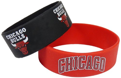 aminco NBA Chicago Bulls Silicone Rubber Bracelet, 2-Pack (Bulls Nba Bracelet Chicago)