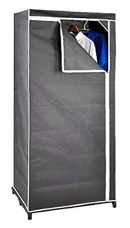 Spetebo Stoffschrank 160 cm inkl. Kleiderstange - grau - Kleiderschrank Faltschrank Stoffkleiderschrank