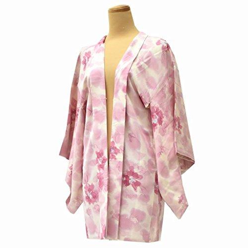 バーベキュー囲い七時半羽織 着物 中古 リサイクル 正絹 花文様 裄62cm はおり ピンク系 裄Sサイズ jj2149c