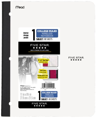 Five Star Wireless Notebook, College Ruled, 1 Subject, 8.5 x 11 Inches, 80 Sheets, Assorted Colors (09294)