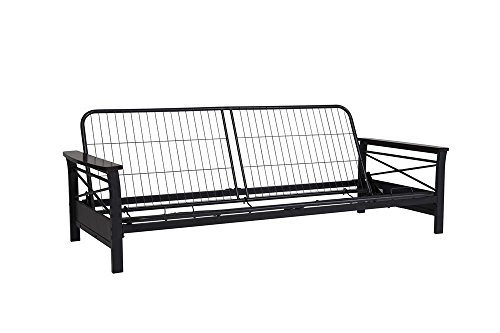 Wood Arm Futon (DHP Nadine Metal Futon Frame with Espresso Wood Armrests, Full Size, Mattress Not Included)