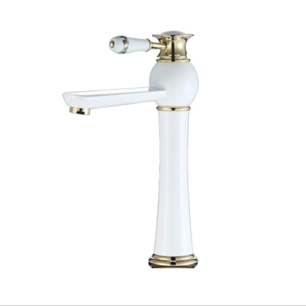 Lddpl Tap New Arrivals White and gold color Waterfall Faucet Tall Bathroom Faucet Basin Mixer Tap with Hot and Cold Sink Faucet