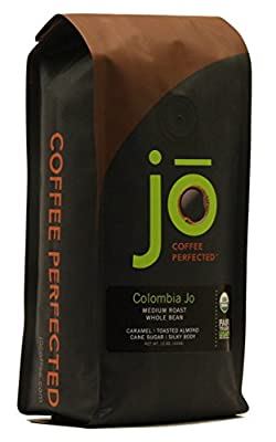 COLOMBIA JO: 12 oz, Organic Whole Bean Colombian Coffee, Medium Roast, Fair Trade Certified, USDA Certified Organic, 100% Arabica Coffee, NON-GMO, Gourmet Coffee from the Jo Coffee Collection