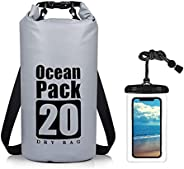 20L Dry Bag, 500D PVC Waterproof Bag with Waterproof Phone Pouch and Long Adjustable Shoulder Strap, Ideal for