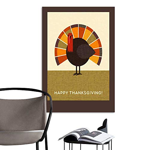 Card Flat Ballerina (UHOO Canvas Wall Art Painting Happy Thanksgiving Flat Minimalist Design Colorful Turkey for Greeting Cards Banners Print 4.jpg Nature Canvas Artwork Home Office Wall 16