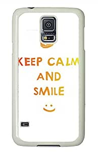 D Keep Calm And Smile PC White Hard Case Cover Skin For Samsung Galaxy S5 I9600
