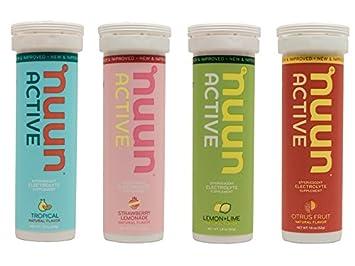 Nuun Active Hydration - Frutas Tropicales/Lemonada de Fresa/Limón y Lima/Agrios - Paquete de 4 tubos: Amazon.es: Salud y cuidado personal