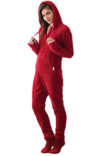 PajamaGram Women's Huggable Fleece Hoodie-Footie Onesie Pajamas, Red, SML (4-6)