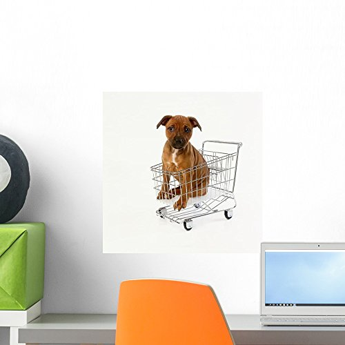 Puppy Sitting Miniature Shopping Wall Mural Wallmonkeys Peel and Stick Graphic (18 in H x 18 in W) WM282025
