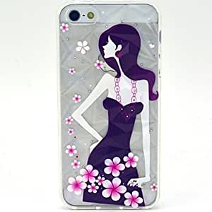 Arrogant Girl with Flower Pattern Soft TPU Diamonds Case for iPhone 5/ 5S