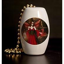 Wishing Well Fairy Porcelain Fan / Light Pull