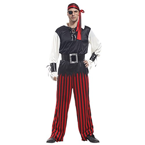 Spooktacular Men's Carribean Pirate Cyclopia Pirate Costume Set, (Pirate Captain Beard)