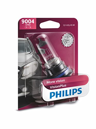 Philips 9004 VisionPlus Upgrade Headlight Bulb with up to 60% More Vision, 1 Pack