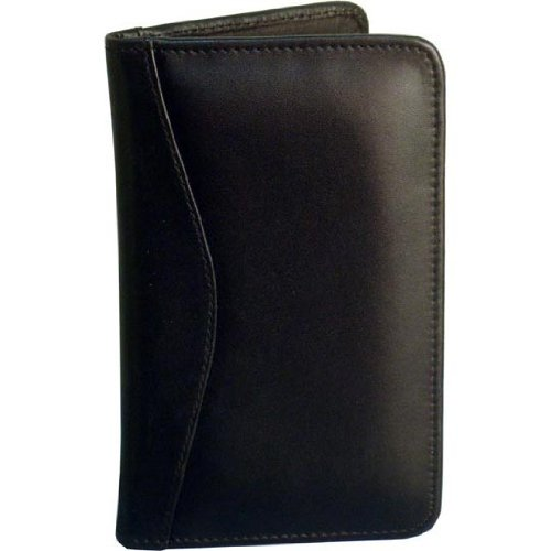 (Black Cowhide Leather 3 High Business Card File Plastic Insert: 3 Row)