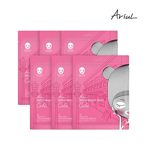 Face Sheet Mask by Ariul, Mood Maker Mask Cute Multipack (6 face masks) for Ultra Hydration, Radiance & Protective Barrier, Hyaluronic Acid, Niacinamide, Glutathione, Berry Complex - Cellular Energy Radiance Cream