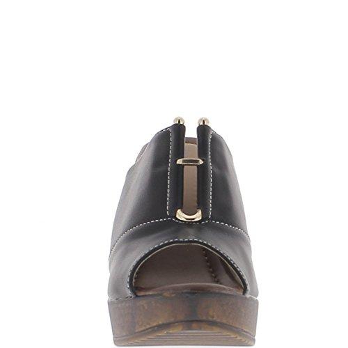 Sabots compensés noirs à talons de 11,5cm et plateforme fermés dessus