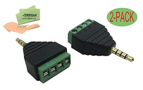 Cerrxian 3.5mm 4 Pole Stereo TRRS Audio Vedio Male to 4 Screw Terminal Female Headphone Balum Converter Adapter (2-Pack)