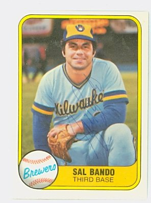 Sal Bando AUTOGRAPH 1981 Fleer #510 Milwaukee Brewers by Autographed Baseball Cards (1970-1979)