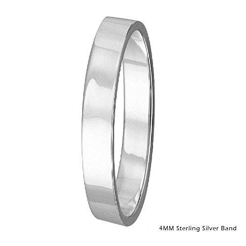 4mm Men & Women Sterling Silver FLAT Wedding Band Ring, High Polish Finish (7)