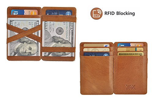 (XAX RFID Blocking Thin Minimalist Magic Wallet, Vegetable Tan Leather (Tan))