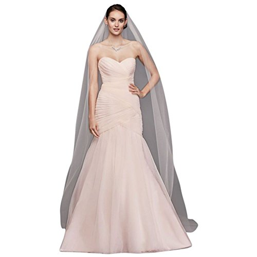 Single-Tier Raw Edge 144-Inch Cathedral Veil Style V703C, Whisper Pink by David's Bridal