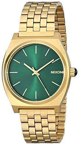Nixon Time Teller A0451919-00. Gold and Green Women's Watch (37mm. Gold Metal Band/Green Sunray Watch Face) by NIXON