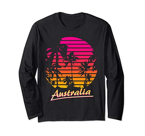 Australia Cool 80s Palm Trees Summer Sunset Long Sleeve T-Shirt
