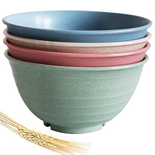 Unbreakable Large Cereal Bowls - 30 OZ (7 inch) Wheat Straw Fiber Lightweight Degradable Bowl Sets 4 - Dishwasher & Microwave Safe - Eco-Friendly - for Cereal,Salad,Soup, Noodle, 4 Pieces (Large)