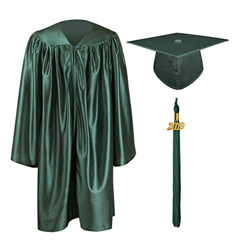 GraduationMall Shiny Kindergarten & Preschool Graduation Gown Cap Set with 2019 Tassel Forest Green ()