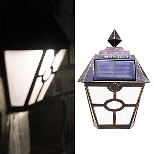 Longay Outdoor LED Solar Powered Light Wall Mount Landscape Fence Yard Lamp (A)]()