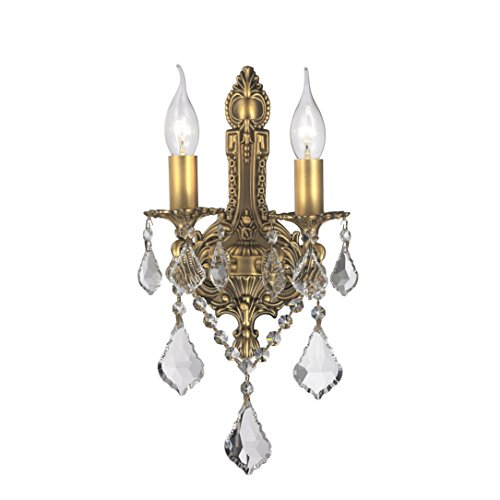 Sconce Bronze Versailles Antique - Worldwide Lighting Versailles Collection 2 Light Antique Bronze Finish Crystal Wall Sconce 12