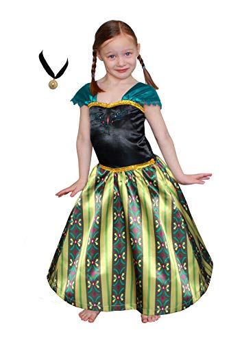 Princess Frozen Anna Elsa Coronation Dress Costume (9-10 Years & Necklace, Olive)]()