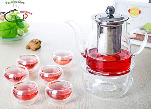 XuBa 1x 8in1 Coffee Tea Set A-Big 650ml Glass Tea Pot w/Stainless Steel Infuser Filter+6Double Wall Layer Cup +Round Warmer Show by XuBa