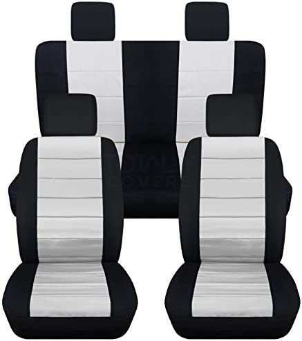 Totally Covers Compatible With 2007 2010 Jeep Wrangler Jk Seat Covers Black White Full Set Front Rear 23 Colors 2 Door 4 Door Complete Back Solid Split Bench Automotive Amazon Com