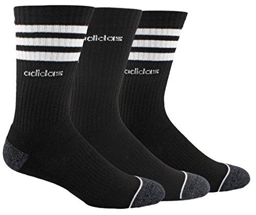 adidas Men's 3-Stripe Crew Socks (3-Pack), Black/White/Onix Marl, Size 6-12