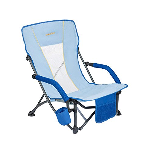 (#WEJOY Beach Chair Low Sling Folding Lounge Cooler Chair Mesh Back Lightweight Portable Steel Frame Strong Stable Armrest Cup Holder Pocket, Supports 300lbs)
