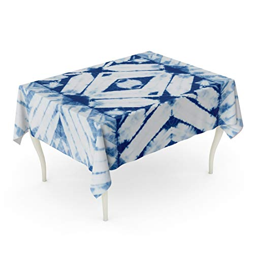 Tarolo Rectangle Tablecloth 60 x 84 Inch Blue Pattern Abstract Batik Tie Dyed of Indigo Color on White Hand Dye Fabrics Shibori Dyeing Navy Ink Table Cloth