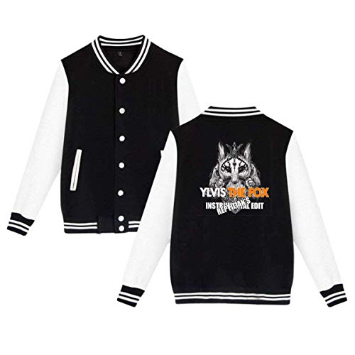 Ylvis The Fox Mens & Womens Casual Style Hoodie Baseball Uniform Jacket Sport Coat Black