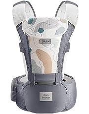 Bebamour babydraagzak voor 0-36 maanden 3D Air Mesh babydraagzak rugzak voor pasgeborenen tot peuter, goedgekeurd door veiligheidsnorm, ergonomische babyheupzitje 6 in 1 voordrager (3D luchtgrijs met ontworpen)